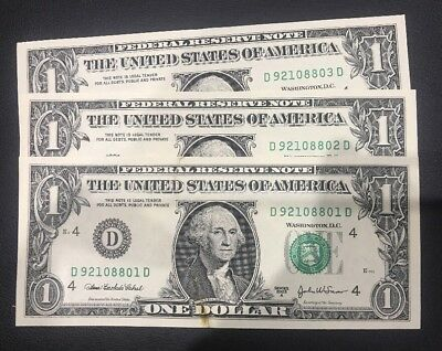 USA 3 X One Dollar Consecutive  Note Rare $$$