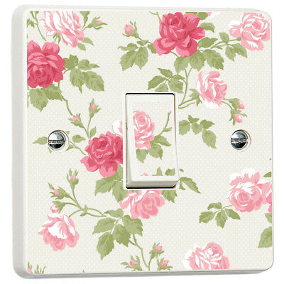 Pink Floral Shabby Chic Roses Skin Light Switch Cover Skin Sticker Decal