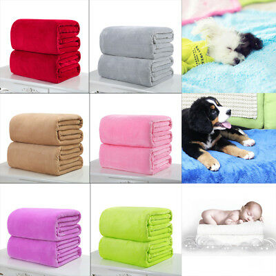 New Soft Solid Warm Micro Throw Blanket Rug Plush Fleece Bed Quilt Sofa Home