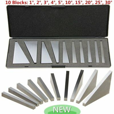 10x NEW ANGLE BLOCK SET MILLING MACHINIST PRECISION GROUND 1-30 Degrees w/CASE