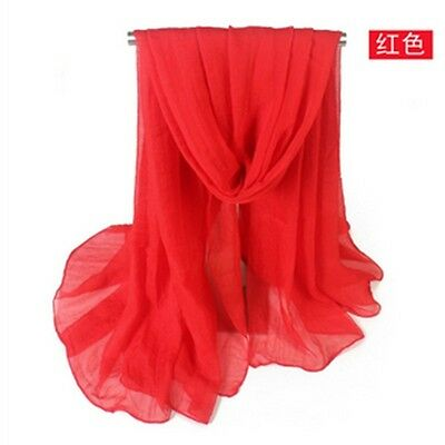 Fashion Red Lady Women Long Candy Colors Soft Cotton Scarf Wrap Shawl Scarves