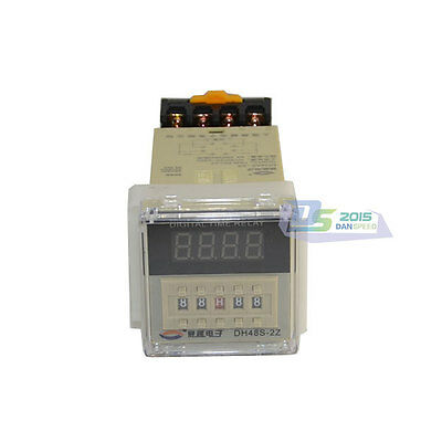 24~240V Digital Time Delay Relay Counter Power On Delay Timer DH48S-2Z AC/DC New