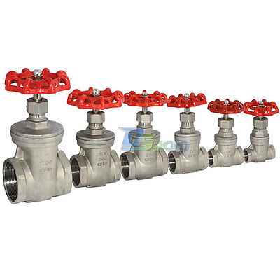 Gate Valve Stainless Steel SUS SS 304 CF8M Heavy Duty BSPT 6 Sizes CL