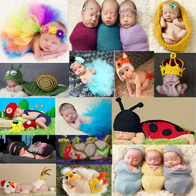Newborn Baby Girl Boy Crochet Knit Costume Hat Cap Photo Photography Outfit Prop
