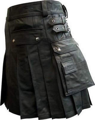 Men's 100% Cow Leather Pleated Kilt/LARP with Two Side Cargo Pockets Custom Size