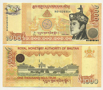 Bhutan 1000 Ngultrum 2008 Pick 34 UNC Uncirculated Banknote