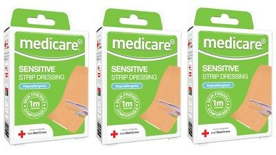 3-pack Medicare Sensitive STRIP DRESSING Hypoallergenic 1m x 6cm (cut to size)