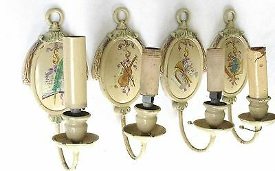 Four (4) Antique Hand Painted Single-Arm Sconces Possibly E. F. Caldwell