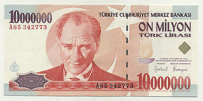 Turkey 10000000 Lira 1970 (1999) Pick 214 UNC UNCIRCULATED Banknote Serial A