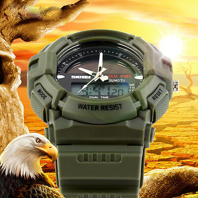 Attractive Design Solar power Digital LED Date Day alarm rubber Analog Men Watch