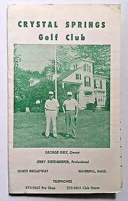 HAVERHILL MA Golf Course Scorecard w Photo of Club Pro on Cover Jerry Diefender