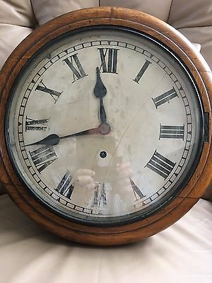 "Antique Station Wall Clock Oak Case with pendulum School Railway 16."" untested"