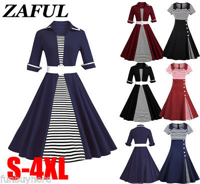Women's Vintage Dress Classic Stripe ROCKABILLY Party Tea Dress Plus Size