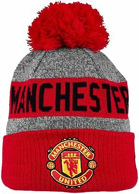 New Era Manchester United Football Club Knitted Turn Up Bobble Hat Red Grey