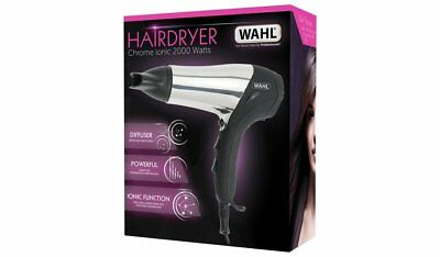 Wahl 2000w Chrome Ionic Hair Dryer 2 Speed 3 Heat Setting Cool Shot – ZX573