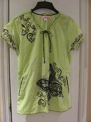 Koi By Kathy Peterson Women's Scrub Top Top Size M Green With Butterlies