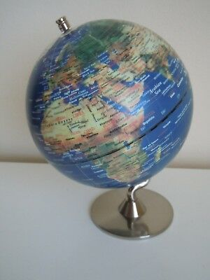 WORLD GLOBE with Silver METAL Base.