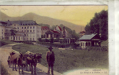 "Cpa Uriage "" Les Hotels Et La Station "" Animee"