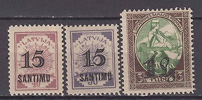 Latvia - 1927 Stamps with Surcharge (MNH)