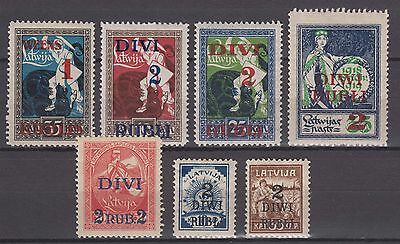 Latvia - 1920-21 Stamps with Surcharge (MNH)