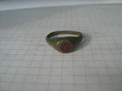 Ancient bronze ring with stone (241)