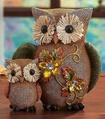 Pair of Owls Autumn Harvest Ceramic Owl Figurine Burlap Sculpture Fall Decor