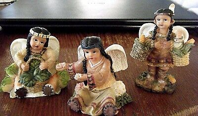 3 Little Native American Girl Angels  April July & August