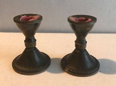 "2 Vintage Sterling Silver Duchin Creation 3"" High Candle Candlestick Holders"