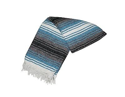 Authentic Mexican Falsa Blanket Hand Woven Mat Blanket 76 L x 53 W inches Blue