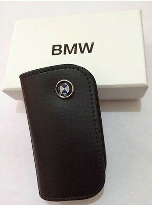 BMW Black Leather Car Key Case Fob For All Series
