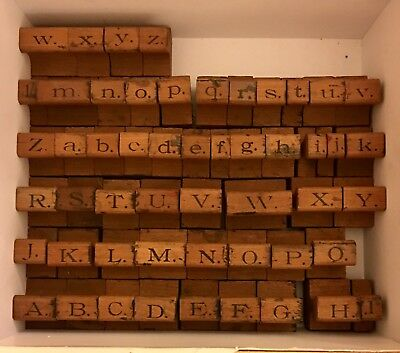 "Vintage (USA 1930s) Alphabet & Number Rubber/Wooden Stamp Set Large 1"" Pcs."