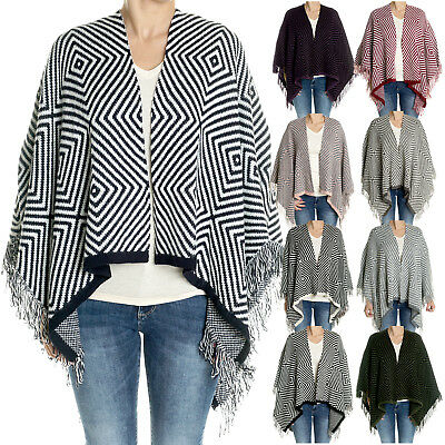 Damen-Mode Cardigan Ponch Cape Umhang Strick-Jacke Pullover Pulli aus Italien