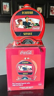 Coca Cola Fountain Serve AM/FM Radio/ Cookie Jar with Lighted Front. With Box.