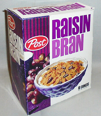 -Rare- 1960's -Post Raisin Bran- Mad Men Screen Used TV Prop Vintage Cereal Box