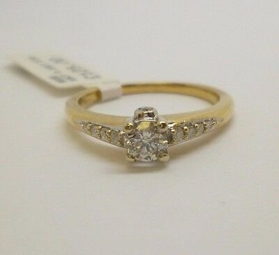 18ct yellow gold 0.33ct diamond solitaire engagement dress ring with hallmark