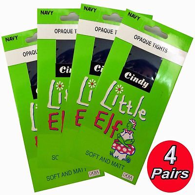 4 X LITTLE ELF KIDS /CHILDREN /GIRLS SOFT & MATT OPAQUE TIGHTS LYCRA * Navy