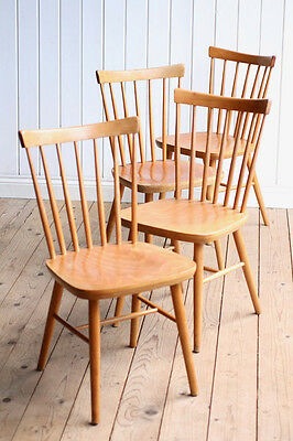 Vintage Retro Set of 4 Stickback Dining Chairs Mid Century Ercol Style