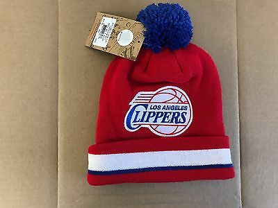 sale retailer 44511 40d72 (RED BLUE) Mitchell   Ness NBA LA CLIPPERS Cuffed Knit Hat with Pom