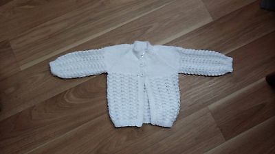 Baby Girls White Cardigan 3-6 Months New Hand Knit
