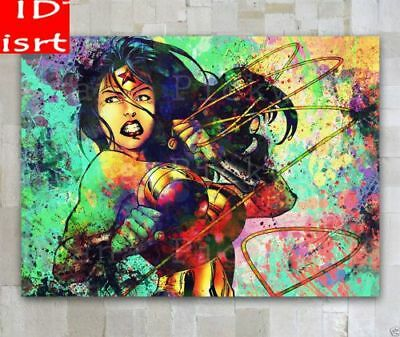 Hand-Painted Portrait Oil Painting on Canvas,Wonder Woman 24x36 inch/Unframed