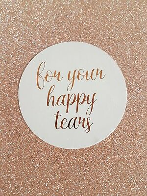 For Your Happy Tears Stickers Confetti Wedding Favour Rose Gold Foil Personalise