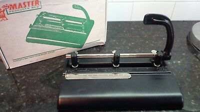 Used Master Products 3-25 Heavy Duty 3 hole Paper Punch 30 Sheets