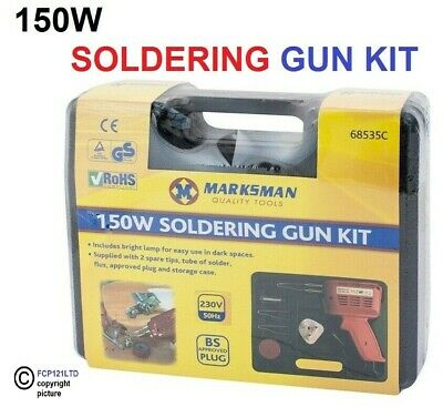 New Electrical Soldering Iron Gun Kit 240V - 2 Spare Tips New  With Case 150W
