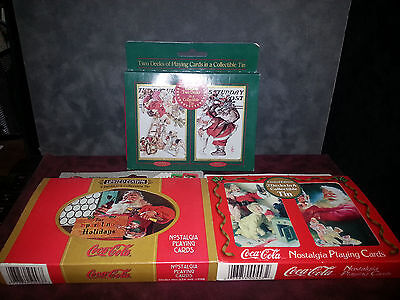 Saturday Evening Post Santa & Coca-Cola Playing Cards & Tins Lot of 3