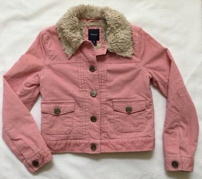 GAP Kids Pink Corduroy Jacket Coat Faux Fur Lined EUC Size 8 Medium