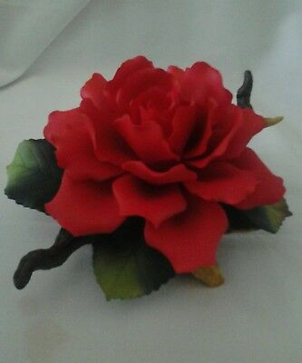 """Red Rose On Branch ""Fine Hand-painted Porcelain Art-Andrea's Flowers by Sadek"