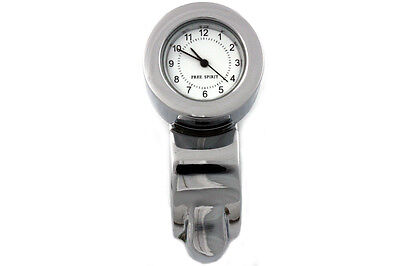 "Chrome Handlebar Clock Assembly for Harley with 7/8""-1"" Handlebars"