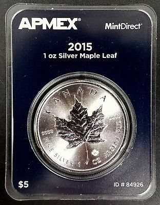 2015 Canada Maple Leaf, 1 Troy Oz .9999 Fine Silver Round! Sealed card!