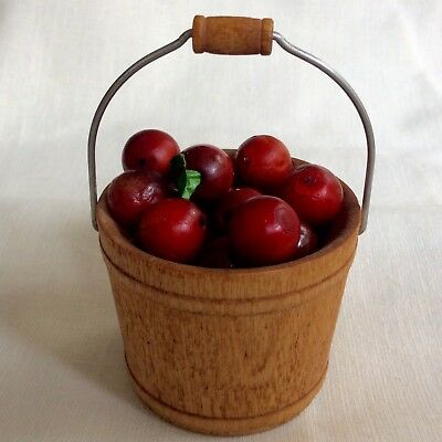 Miniature Wooden Bucket With Apples - Nice Accessory With Byers Choice Carolers