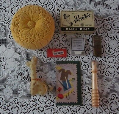Vintage Antique Sewing Lot  Pin Cushion Giraffe Tape Measure Needle Book